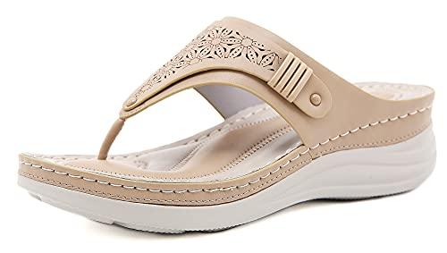 INMINPIN Chanclas de Cuña Mujer Verano Elegante Sandalias de Dedo Cuero Cómodo Plataforma Flip Flop Zapatillas de Playa Interior y Exterior