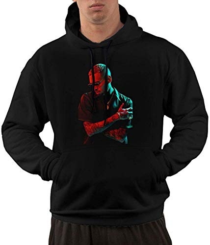 Beiläufiges langärmliges mit Kapuze Sweatshirt Chris Brown Men's Hoodies Sweater Fashion Long Sleeve Top Pocket Hooded Sweatshirts