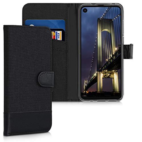 kwmobile Wallet Hülle kompatibel mit Motorola One Action - Hülle Kunstleder mit Kartenfächern Stand in Anthrazit Schwarz