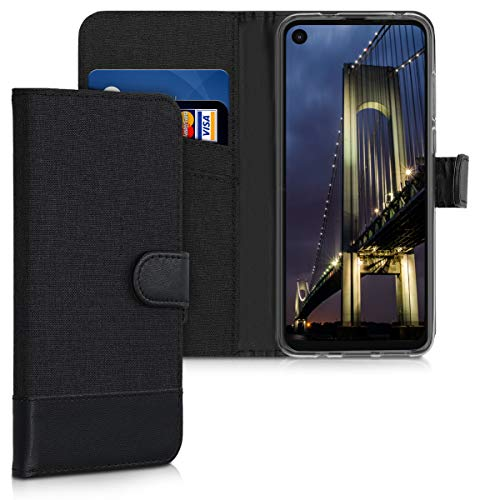 kwmobile Wallet Case Compatible with Motorola One Action - Fabric and PU Leather Cover with Card Slots and Stand - Anthracite/Black