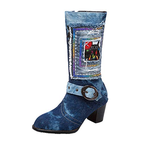 Amazing Deal Hopwin Women's Buckle Mid-Calf Boots | Ladies Round Toe Denim Pump Shoes Side Zip Wes...