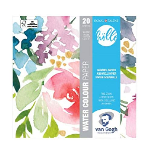 Van Gogh Frau Hölle Floral - Papel de acuarela (20 hojas, formato 15 x 15 cm, 300 g/m²)
