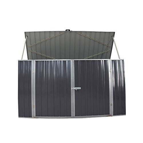 PananaHome Metal Garden Shed Bike Storage Shed Tool House Double Door Pent Roof Outdoor Galvanized Steel