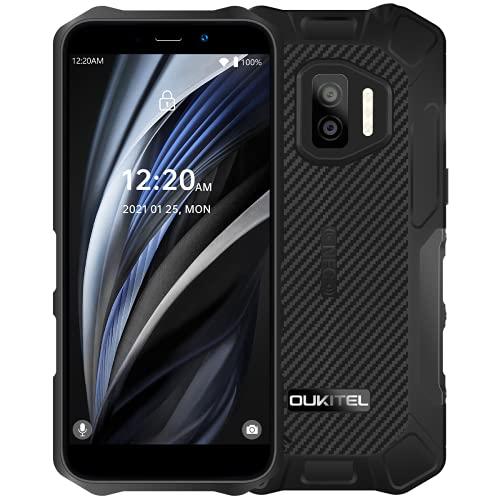OUKITEL WP12 Pro Android 11 Móvil Resistente, (Peso Ligero), Quad Core 4GB+64GB, Batería 4000mAh, Pantalla HD+ 5.5', Cámara Triple (Submarina) 13MP,IP68 IP69K Teléfono Impermeable Dual SIM NFC Negro