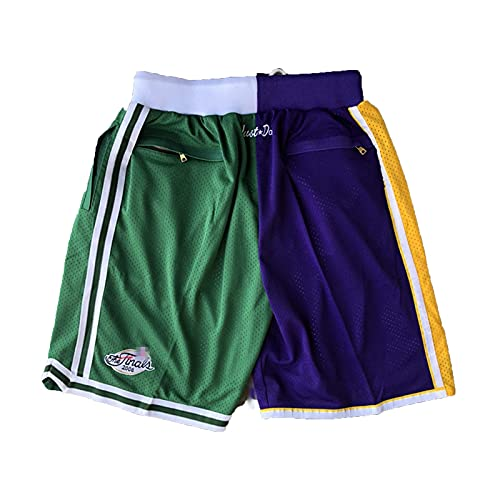 HFDH Basketball Jersey Shorts, Lakers and Celtics Patchwork Shorts Men's and Women's Retro Shorts are Suitable for Training Games(XL,Purple)