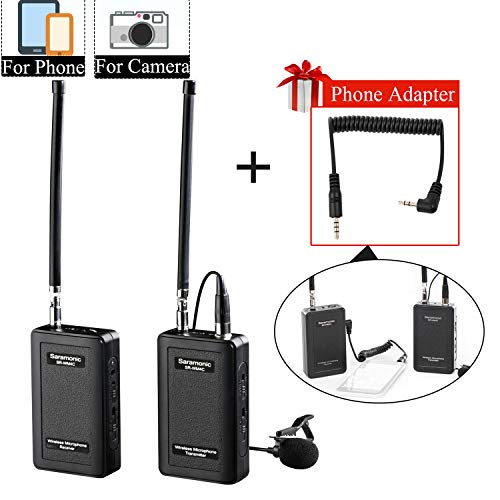Wireless Lavalier Microphone fo iPhone 11 X 8 8 Plus 7 7 Plus 6 6s, Saramonic Lapel Mic System for iOS Smartphone iPad DSLR Cameras Camcorder Canon 6D Nikon Sony DV Recoder YouTube Vlog