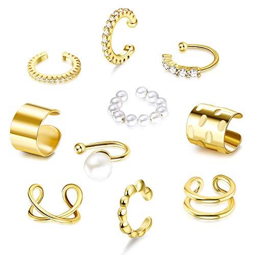 CASSIECA 10 Stück Ear Cuff Nicht Piercing Clip Ohr Manschette Gold Clip Knorpel Ohrringe Ohr Clips Ohr Schmuck Ohrklemmen Ohrringe Perlen Zirkonia für Damen Mädchen