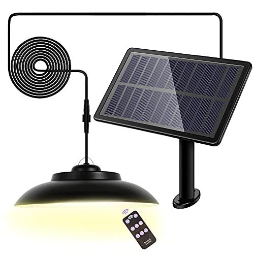 Solar Pendant Lights with Remote Control, Upgraded 48 LED 800LM Super Bright Solar Shed Light Hanging Outdoor Indoor for Gazebo Cabin Garage Carport Gutter Barn