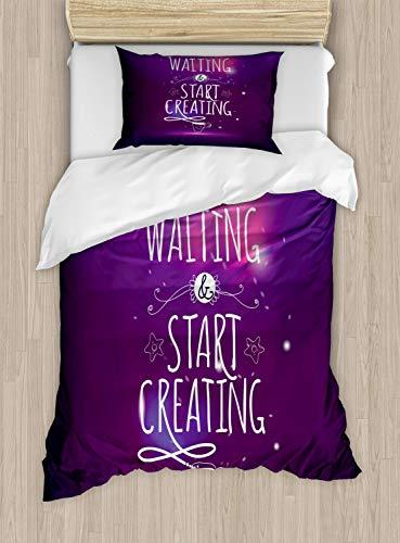 ABAKUHAUS Gezegde Dekbedovertrekset, Stop Wachten beginnen met het maken, Decoratieve 2-delige Bedset met 1 siersloop, 130 cm x 200 cm, Purple Pink and White