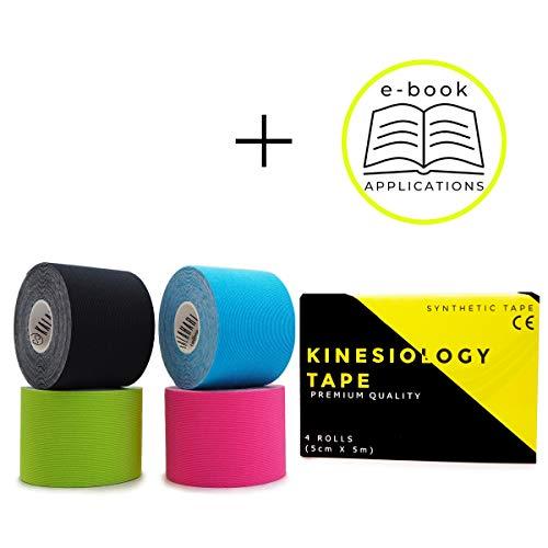 KALAHARI 4 rollen Waterdichte Kinesiology Tape plus E-Book met toepassingen in het Nederlands – Synthetische Tape voor een betere Hechting en Bestandbaarheid tegen water en zweet – 5cm x 5m
