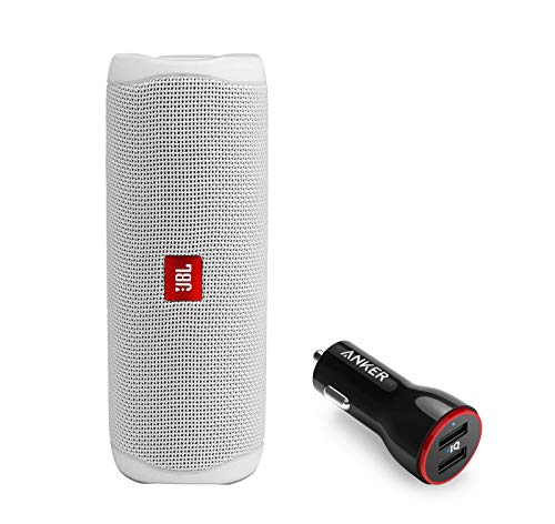 JBL Flip 5 Waterproof Portable Wireless Bluetooth Speaker Bundle with 2-Port USB Car Charger - White