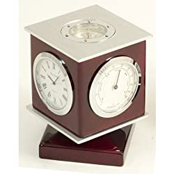 Bey-Berk SQB587T Lacquered Rosewood Weather Station with Clock, Thermometer, Hygrometer, Compass Top and Engraving Plate. Brown