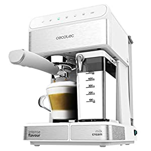 Cecotec Cafetera Semiautomatica Power Instant-ccino Touch Serie Bianca. Presión 20 Bares, Capacidad de 1,4l, 6 Funciones, Calentador por Thermoblock, Control Táctil, Tanque de leche, 1350 W
