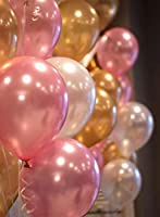 Package include: 51 pic mixture of golden, pink and white metallic balloons Size:12: beautiful balloons to make your party most memorable When blown up, each balloon has a diameter of 12 inches. The big size balloons are party supplies favorite Premi...