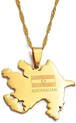 LBBYLFFF Collar Collar de Color de Moda o Tarjeta de Azerbaiyán y Colgante de Bandera, Tarjeta, Collares, Regalos de joyería
