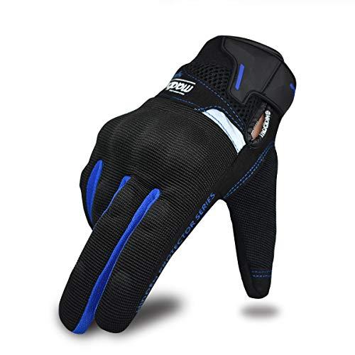 Guantes de Motocicleta de Verano para Hombres y Mujeres, Guantes de conducción de Motocicleta con Pantalla táctil, Guantes de Carreras para Deportes de Motor (Azul, L)