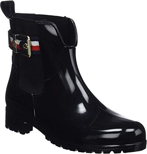 Tommy Hilfiger Damen Corporate Belt RAIN Boot Gummistiefel, Schwarz (Black 990), 41 EU
