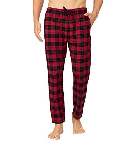 LAPASA PerfectSleep - Pijama de 100% Algodón Franela con Estampado Escocés para Hombre M39 (Negro Y Rojo (Cuadro Pequeño), S (Cintura 68-76, Largo 105 cm))