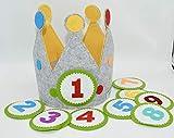 Der Wollprinz Corona de cumpleaños amarillo/gris con los números del 1 al 9.