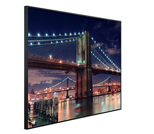 Ecowelle Infrarotheizung mit Bild   1200 Watt   114x100x3cm   Infrarot Heizung    Made in Germany  A04: Stadt New York, Brooklyn Bridge
