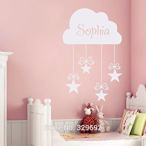 2016nuevo personalizado Las Niñas Nombre Pegatina de nube y estrellas pared vinilo adhesivos arte de pared decoración del hogar dormitorio niñas bebé decoración habitación infantil Mural