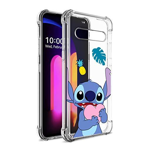 Nico Funda LG V60, LG V60 ThinQ 5G, LG V60 ThinQ, Lindo Gracioso Dibujos Animados Cáscara Moda, TPU Ultra-Delgado Anti-Choque Bumper Case Caso para Teléfono LG V60 (Heart Stitch)