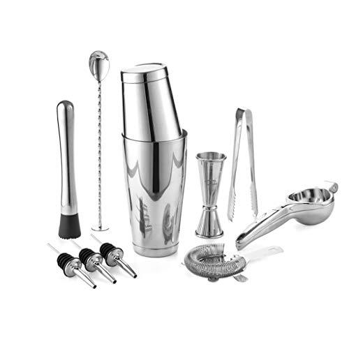 JJZXD Cocktail Tool Kit Bartender Kit Includes Shaker Jigger Spoon Pourer Muddler Squeezer Ice tong