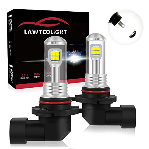 LAWTOOLIGHT 9005 HB3 9145 9005XS Fog Light Bulbs, DRL Bulbs, EP LED Chips 40W 4800 Lumens, 6000K Xenon White, 300% Brighter, Non-polarity, All In One Plug N Play(Pack of 2)
