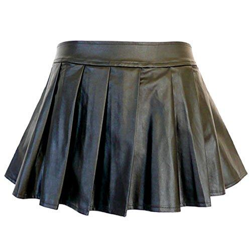 5209 - Plus Size PVC Faux Leather Pleated Sexy Mini Skirt Black (2X)