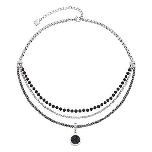 JEWELS BY LEONARDO Damen-Halskette Favo, Edelstahl mit facettierten Glas- und Hämatit-Perlen, CLIP & MIX System, Länge 430 mm, 016635