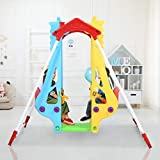 Toddler Metal Swing Set, Indoor/Outdoor A-Frame Swing Stand & High Back Double Baby Swing Chair Seat with Safety Belt, Infants Kids Children Heavy Duty Hanging Swing Set for Backyard Outside (Yellow)
