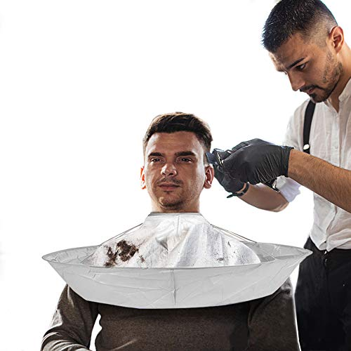 Hair cutting cape barber Cape umbrella for men women, haircut Salon Capes for hair stylist, Beard Shaving Waterproof Hairdressing Kit Accessories for Adult Kids (silver)