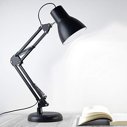 Lámpara de escritorio con brazo giratorio,lámpara de mesa,bombilla y abrazadera LED adicionales,3 colores y 5 brillos,marco de metal,lámpara de arquitecto para oficina/hogar/dormitorio,con bombilla