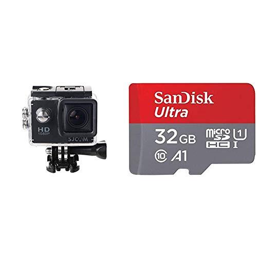 SJCam SJ4000Videocámara Deportiva (Full HD, 2'' LCD, Sumergible 30m) + SanDisk Ultra Tarjeta de Memoria microSDHC con Adaptador SD, hasta 98 MB/s, Rendimiento de apps A1, Clase 10, U1, 32 GB