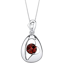 Sterling Silver Minimalist Pendant Necklace In Garnet Color