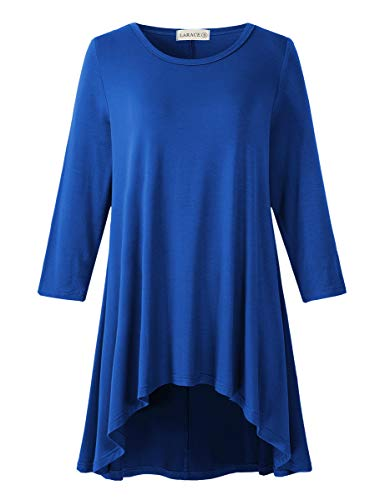 LARACE Womens Plus Size 3/4 Sleeve Loose Fit Flare Swing Tunic Tops Floral High Low Basic T Shirt, Royal Blue 2X