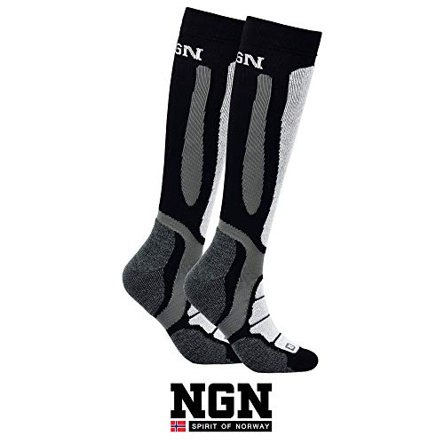NGN Skisocken Merinowolle Herren & Damen | Ski Socken Winter | Funktionssocken Merino Wolle Schwarz | Warm Thermo Socks | Thermosocken | Wandersocken | Wintersocken | Snowboard Socken | Warme Strümpfe
