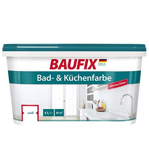 BAUFIX Bad- und Küchenfarbe, 5 Liter, Badfarbe weiß antischimmel, Küchenfarbe abwaschbar, atmungsaktive Farbe für Bad/Küche/WC