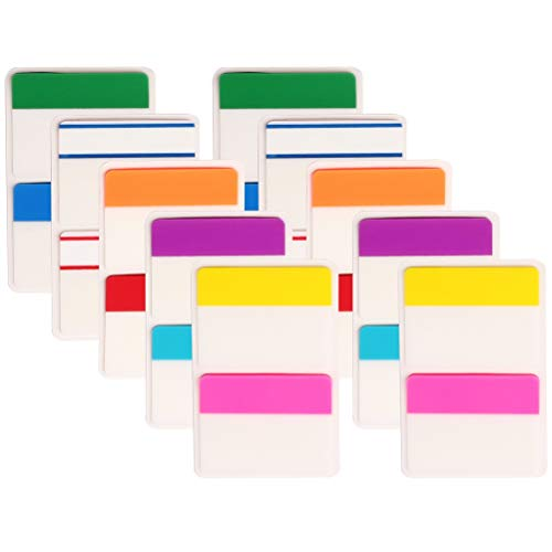 kuou 400 Pieces Book Tabs Index Tabs, Writable and Repositionable Filing Tabs Flags Labels for Notebook Binders File Folders,Reading Notes, Classify Files (10 Colors)