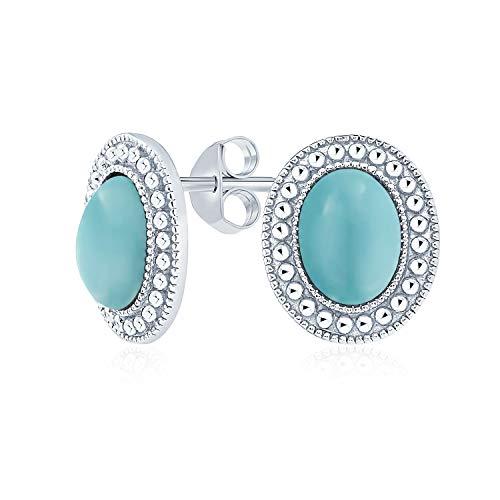 Blauer Edelstein Komprimiert Türkis Perle Lünette Halo Oval Ohrstecker Für Frauen 925 Sterling Silber