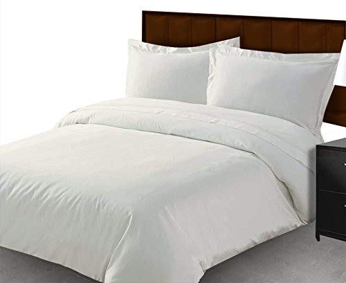 Scala - Set di lenzuola in cotone egiziano 1000 fili, 4 pezzi, per letto matrimoniale (super king size), per materassi che misurano 20 cm di profondità, colore: bianco