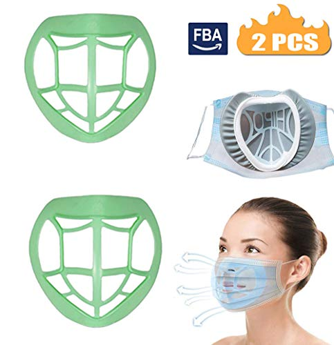 3D Bracket,Nose Pads Makeup Protection Bracket,Inner Support-Mouth and Nose Protection Makeup Increase Breathing Space Helps Smooth Breathing,Washable Reusable Silicone Bracket (Green)