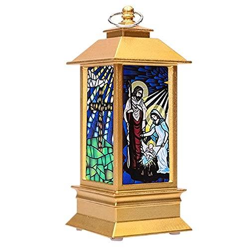 PRETYZOOM LED Weihnachten Laterne Beleuchtet Gartenlaterne Jesus Beleuchtung Weihnachtslaterne Teelichthalter Tischdeko Lampe Kerzenlaterne Garten Hängedeko Gartendeko für Außen Innen Deko