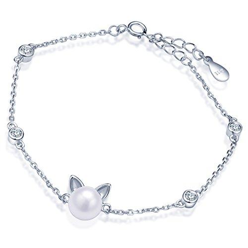 Yumilok Bracelet extensible femme en argent 925 zirconium et perle la forme du chat et cercle...