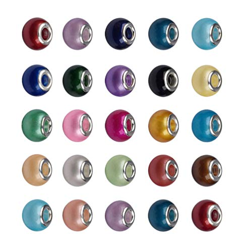 Exceart 40 Stks Groot Gat Kristalglas Spacer Kralen Voor Armband Sieraden Maken Diverse Kleuren