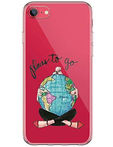 kinnter Silikon Handyhülle Kompatibel mit iPhone SE (2020) Hülle Transparent TPU Bumper Stoßfest Schutzhülle Original Design für iPhone SE (2020) Tasche Cover Ultra Dünn Handytasche