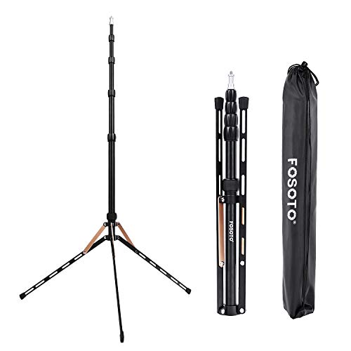 FOSOTO FT-190B 87in Aluminum Alloy Photography LED Light Tripod Stand for Photo Studio Ring Photographic Light, DSLR Cameras, Softbox, Umbrella, Flash, Portrait Shooting Lighting Stand