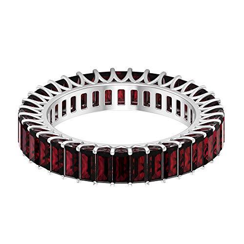 Rosec Jewels 18 quilates oro blanco baguette Red Garnet