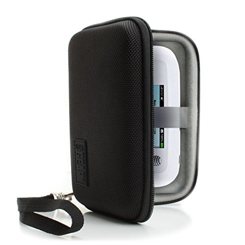 USA Gear Portable WiFi Hotspot for Travel Carrying Case with Wrist Strap - Compatible with 4G LTE Wi-Fi Mobile Hotspots from Verizon, Velocity, Skyroam Solis, GlocalMe, Netgear, and More - Black
