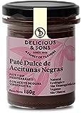 Delicious & Sons Paté Dulce de Aceitunas Negras - Ecológico - Sin Transgénicos - Sin Gluten - Vegano - Con Aceite de Oliva Virgen Extra 180g